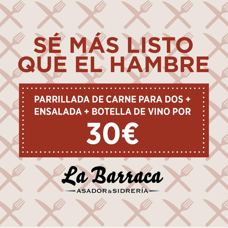 Parrillada de carne, ensalada y vino 30€ en La Barraca